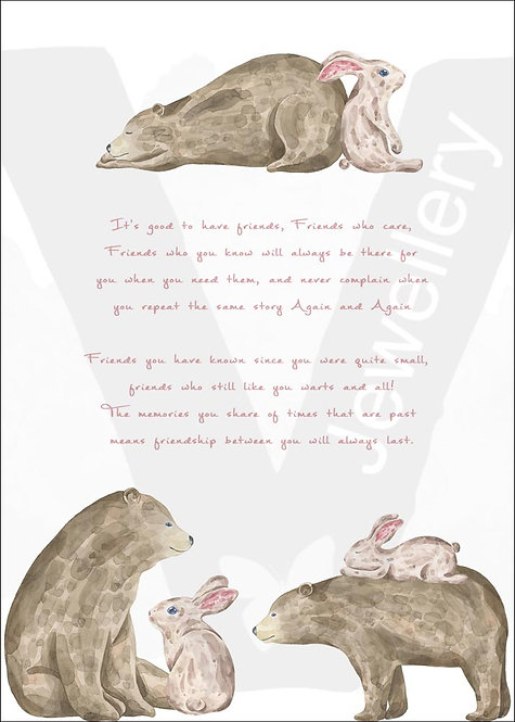 Bear & Rabbit Friends Quote Print Download