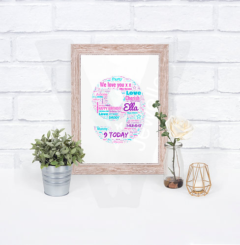 Personalised A4 Number Text-Art Print