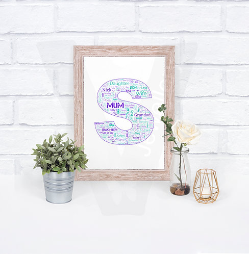 Personalised A4 Initial Text-Art Print