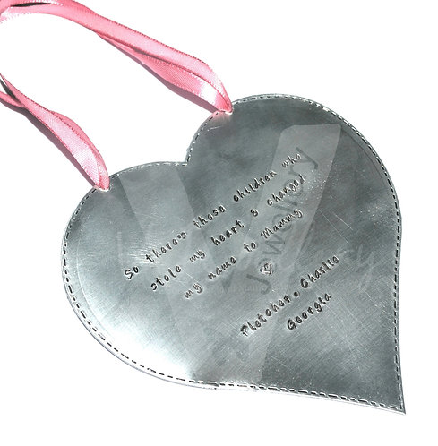 Personalised Stitched Effect XXL Heart Plaque