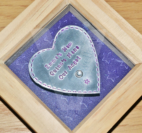 Personalised Hand Stamped 3D Heart Box Frame