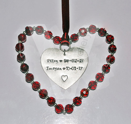 Personalised Glass Beaded Heart Hanging Plaque