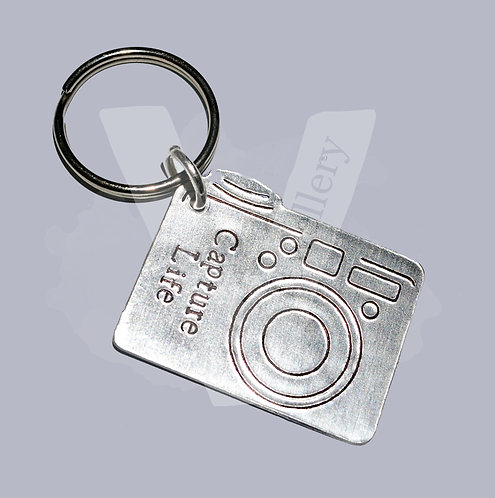 Personalised Hand Stamped Camera Keyring *2 Designs Available
