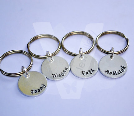 Personalised Hand Stamped Small Disc Keyring