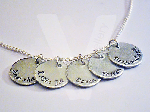 """Personalised Hand Stamped Disc Charm Pendant 18-20"""""""