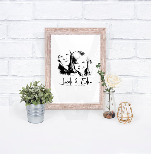 Personalised A4 Photo Sketch Print