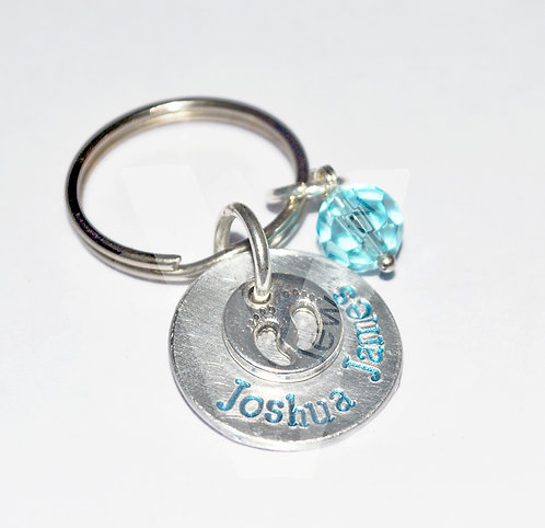 Personalised Baby Feet Layered Discs Keyring