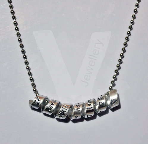 """Personalised """"Secret Message"""" Wrap Pendant *Stainless Steel Chain"""