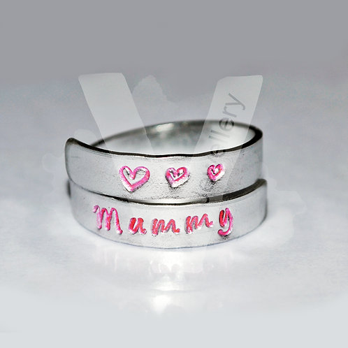 Mum Hand Stamped Wrap Ring