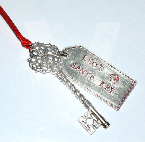 Personalised Hand Stamped Santa Key *Stitched Effect*