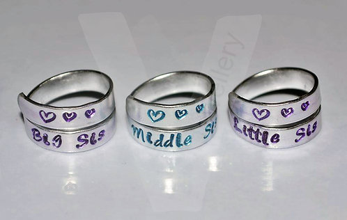 Sisters Hand Stamped Wrap Ring