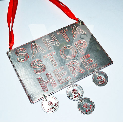 """Personalised """"Santa Stop Here"""" Plaque ~ Stitched Effect *1-10 Charms Available"""