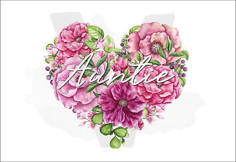 Auntie Watercolor Flowers Heart Print Download