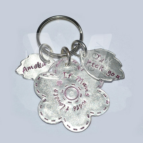 "Personalised ""If Mums were flowers I'd pick you"" Flower & Leaves Keyring"