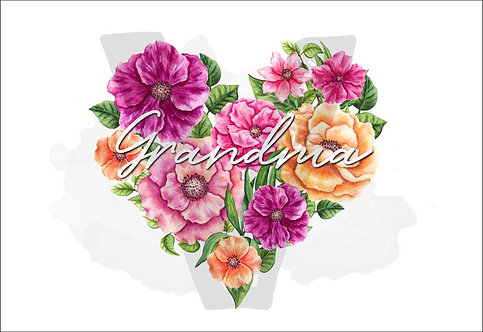 Grandma Watercolor Flowers Heart Print Download