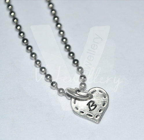 """Personalised Stitched Effect """"Initial"""" Heart Charm Pendant*1-10 Charms Available"""