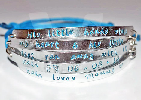 """""""Little hands stole my heart"""" Quote Multi-Plate Bracelet *2 - 6 Plates Available"""