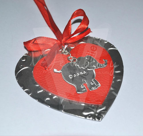 Personalised Embossed Elephant Leather Layered Heart Hanging Plaque