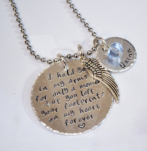 """Angel Baby """"footprints on my heart forever"""" Personalised Charm Pendant ~ 20"""""""