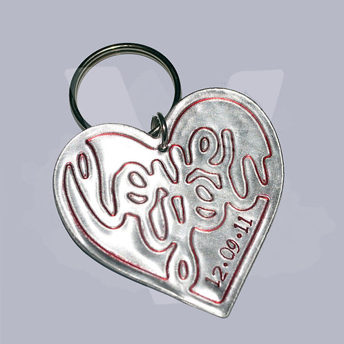 """Personalised Large """"Love you"""" Heart Keyring"""