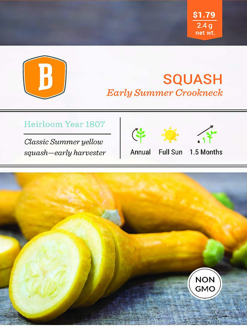Squash - Early Summer Crookneck Seed