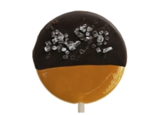 CHOCOLATE DIPPED SALTED CARAMEL GOURMET LOLLIPOPS