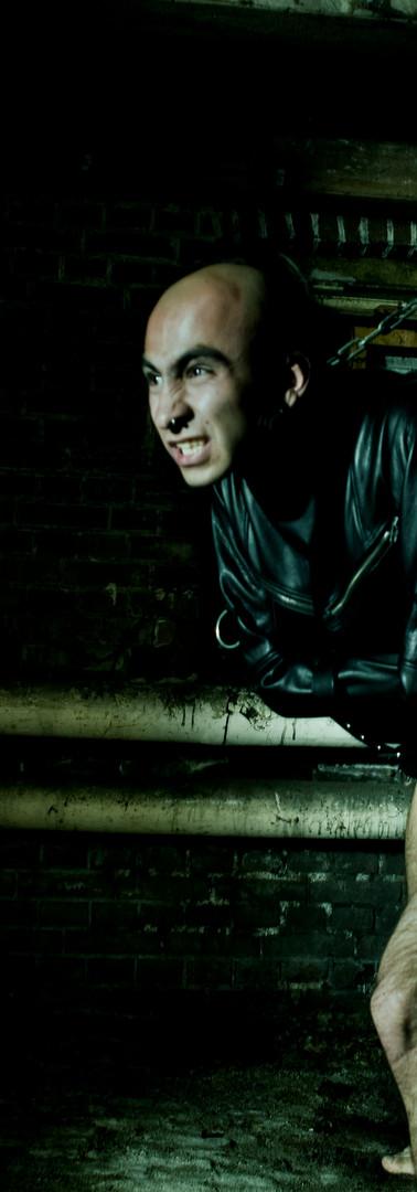 Male leather straitjacket, bondage