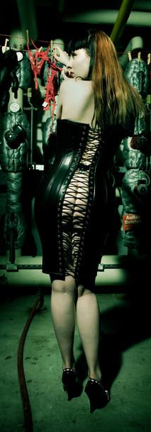 Breathcatchers leather corsetdress, laundry in the basement