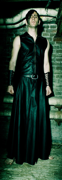 Breathcatchers. Male leather skirt, leather top