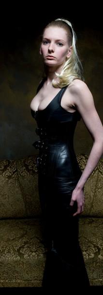 Breathcatchers leather female top, leather skirt
