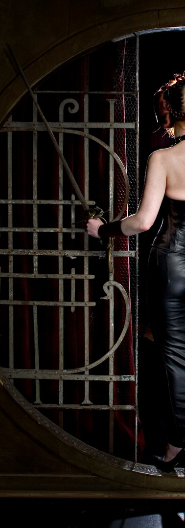 Breathcatchers. Leather hobbleskirt, leather corset