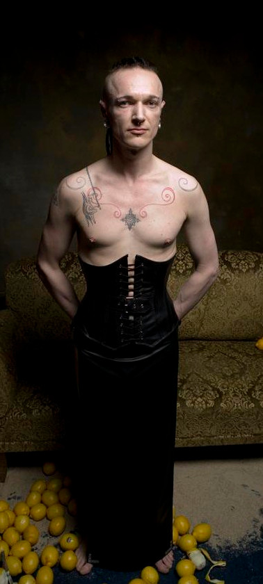 Breathcatchers. Male leather corset and male leather skirt