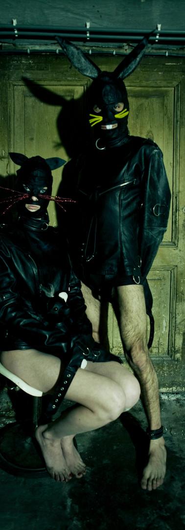 Breathcatchers leather straitjackets, leather rabit hood, leather  cat hood