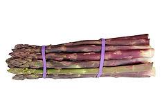 élastiques violets sur asperges