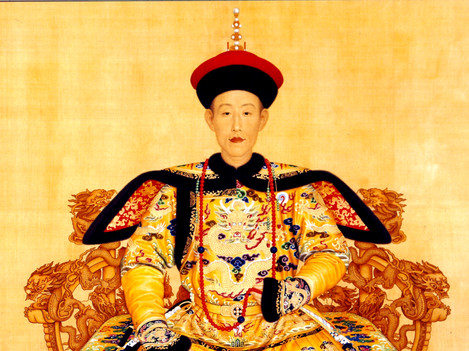 Chinese inspiration in miniature painting: Accession portrait of Qing Emperor