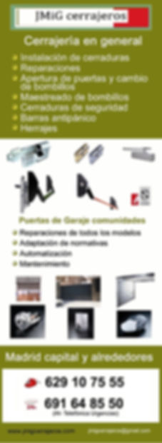 jmig cerrajeros. Cerrajería en general, cerraduras y automatización y mantenimiento de puertas de garaje. madrid.