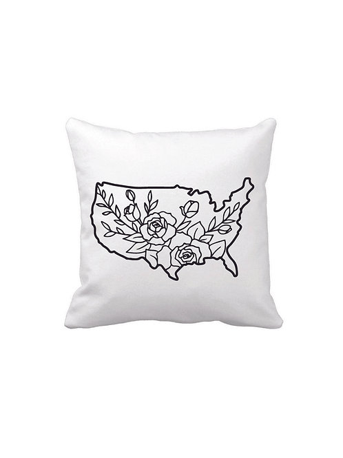 FLORAL USA PILLOW