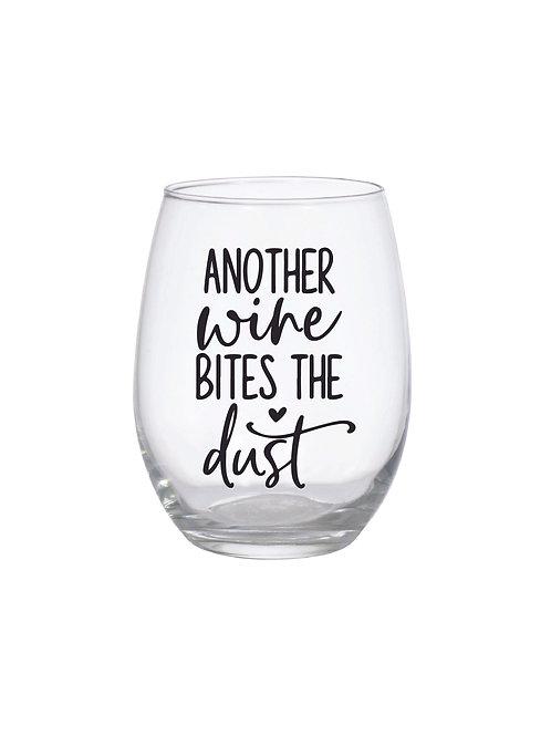 WINE BITES THE DUST GLASS