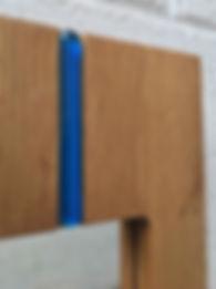 Oak mirror, blue glass, detail top, Wats