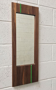 Walnut mirror, green glass, WatsonFlexen