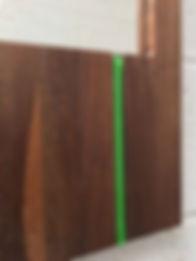 Walnut mirror, green glass, detail botto