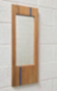 Oak mirror, blue glass, WatsonFlexen