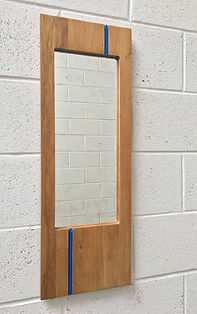 Oak mirror, blue glass, WatsonFlexen