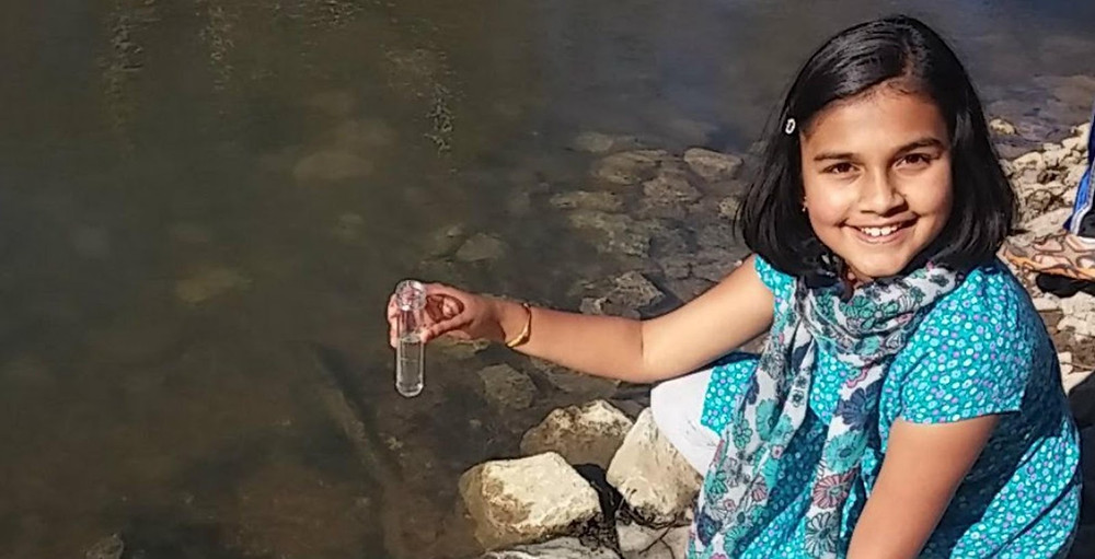 12-year-old Gitanjali Rao testing out her first innovation, Tethys