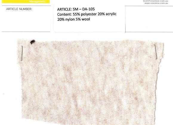 55% polyester 20% acrylic 20% nylon 5% wool