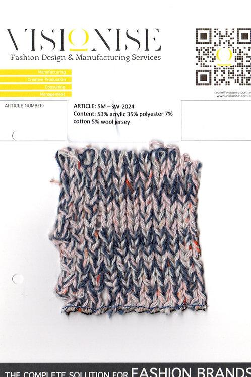 53% acrylic 35% polyester 7% cotton 5% wool jersey