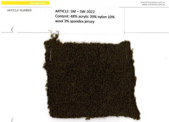 48% acrylic 39% nylon 10% wool 3% spandex jersey