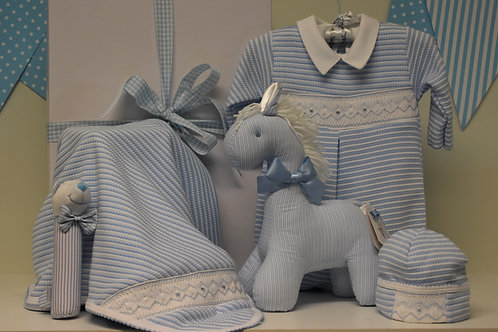 Baby Boy Blue and White striped smocked collection