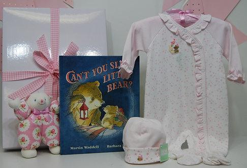 Girl Pink Teddy Bear on Moon