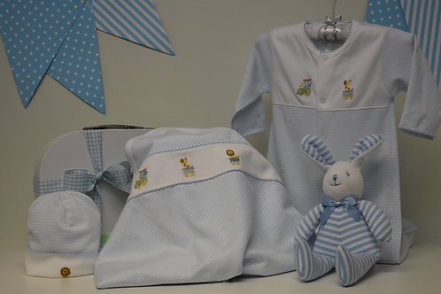 blue and white stripe Animal embroidery collection